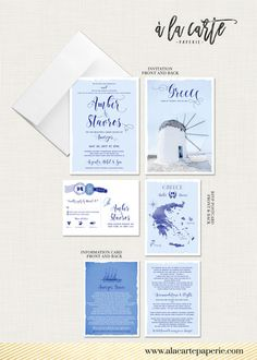 ♥ Deposit Payment to begin work on your customized wedding invitation or suite.  *** Greece - Greek Island Invitation Suite *** European Greek