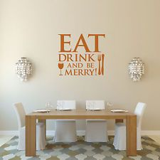Eat Drink and Be Merry Wall Sticker for Kitchen and Dining Room, Vinyl Decal