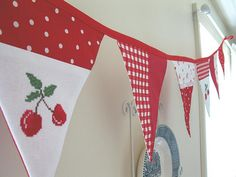 Cherry cross stitch bunting (photo for inspiration)