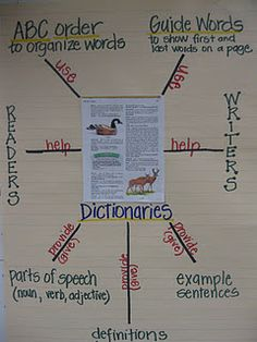 An anchor chart that shows students how to use dictionaries.