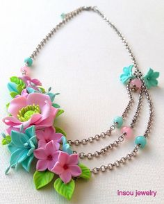 Floral, Flower Necklace, Spring Jewelry, Flower Jewelry, Statement Necklace, Pastel Jewelry, Anemone, Windflower, Gift For Her, Flowers