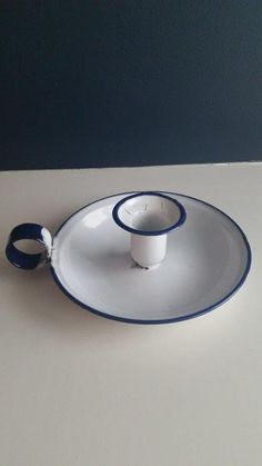 VINTAGE ANTIQUE BLUE AND WHITE ENAMEL CHAMBERSTICK CANDLE HOLDER MADE IN SWEDEN