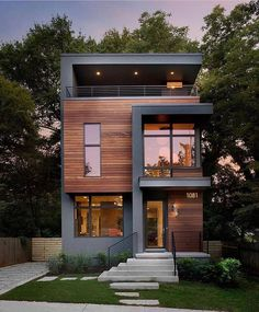 Modern Homes Front House Architecture - Modern homes front _ moderne häuser vorne _ façade de maisons modernes _ ca - House Front Design, Tiny House Design, Modern House Design, Modern Contemporary House, Rustic Modern, Loft Design, Modern Wood House, 3 Storey House Design, Wood House Design