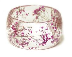 Flower Jewelry - Real Flower Jewelry - Pink Bracelet- Pink Bangle- Pink Flower…