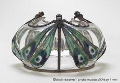 Eugène Feuillâtre Drageoir en 1903 Vase à décor de papillons par Eugène Feuillâtre - dragonfly art nouveau