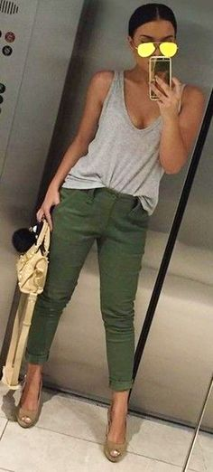 #summer ##flawless #Outfits | Grey + Olive