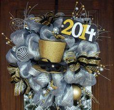 Deco Mesh HAPPY NEW YEAR'S Wreath by decoglitz on Etsy