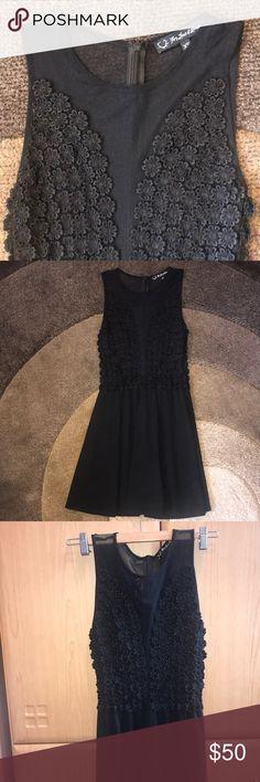 812407cd0f238 For Love   Lemons mesh mini dress Black mini dress with floral front and  mesh.