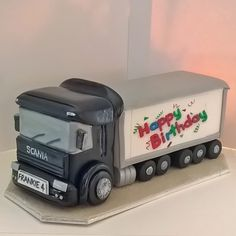 Happy Birthday lorry for Frankie Truck Birthday Cakes, Birthday Cakes For Men, Happy Birthday, Semi Truck Cakes, Fantasy Cake, Crazy Cakes, Novelty Cakes, Occasion Cakes, Cake Toppings