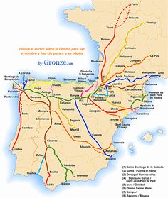 The varied routes on the Camino de Santiago, or the Way of St. James. The most traveled is the French Way, or Camino Francés, shown in green. I did the English Way, shown in blue, in the northwestern corner of Spain.