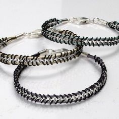 Macramé cords are used for braiding and attaching leather cords onto a piece of jewellery chain. Finish each end of the bracelet with an end cap, oval jump rings and a silver clasp. Leather Jewelry, Leather Cord, Wire Jewelry, Boho Jewelry, Crochet Leaf Patterns, Cord Bracelets, Jewelry Making Tutorials, Beaded Rings, Bracelet Making