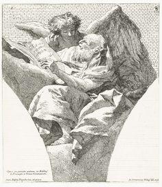 Giovanni Domenico Tiepolo | Evangelist Matteüs met engel, Giovanni Domenico Tiepolo, 1741 - 1745 |