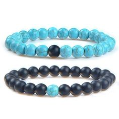 MIKINI His and Her Couple Distance Bracelets Healing Energy Balance Stone Beads Bracelets - Pack of 2 (Man-made Matte Black Agate & Man-made Green Turquoise)