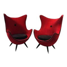 An Exceptional Rare Pair of French Lipstick Red and Black Velveteen Upholstered lounge chairs with Beautiful Tapered Black Lacquered wood Legs with Brass Caps. Attributed To French Design Innovator Jean Royere. Red Room Decor, Leather Chair With Ottoman, Polywood Adirondack Chairs, Upholstery Fabric For Chairs, Red Rooms, Antique Chairs, Egg Chair, Modern Chairs, Cool Furniture