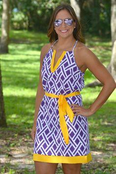 Homegrown Honey LSU Purple Gold Game Day Dress- Shop Simply Me –boutique – www.SHOPSIMPLYME.com - #ishopsimplyme – Naples, FL