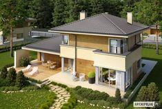 Projekt domu Rodrigo II G2 - widok z góry Bungalow House Design, Modern House Design, Villa, Design Case, Home Fashion, My Dream Home, Home Projects, Architecture Design, House Plans
