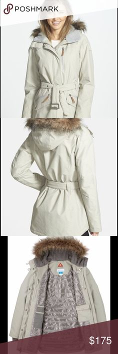 """Columbia Carson Pass II Jacket New with tags! This fabulous, waterproof jacket has Columbia's signature breathable Omni-Tech™ fabric which offers protection against inclement weather. Features a removable faux-fur trim, belted waist and elbow patches to offer city-chic style, while a thermal-reflective Omni-Heat™ lining and inset rib-knit cuffs keep you warm and cozy as the weather turns cold.   Size XL fits sizes 16-18. Length: 31"""". Fully lined with a ton of pockets. Color is """"Flint Grey""""…"""