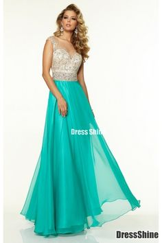 2015 Bateau Beaded Tulle Bodice A Line Prom Dress With Long Chiffon Skirt - PROM