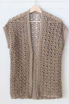 Crochet Waistcoat, Crochet Jacket, Crochet Vests, Quick Crochet, Crochet Cardigan Pattern, Crochet Designs, Crochet Clothes, Crochet Stitches, Cardigans