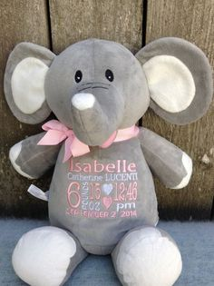 Monogrammed Baby Gift Personalized Elephant Birth Announcement by WorldClassEmbroidery Elephant Baby Girl Pink and White