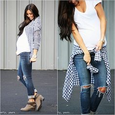 Stay Stylish During Pregnancy   Casual and denim outfit for everyday during maternity. #dressyourbump