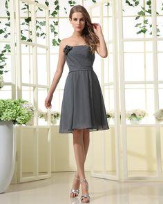 Chiffon Handmade Flower Strapless Knee Length Bridesmaid Dress