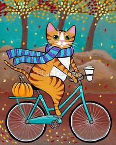 Autumn BIcycle and Coffee Cat - Cat Folk Art Print 5x7, 8x10, 11x14, 16x20