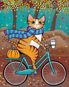 Autumn BIcycle and Coffee Cat - Cat Folk Art Print 8x10, 12x15, 16x20