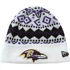 3d942b6d6 New Era Baltimore Ravens Ivory Cuffed Knit Beanie - White Purple