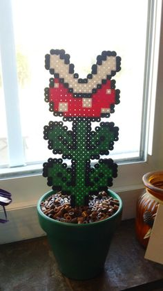 Super Mario Potted Piranha Plant Perler beads by OCBeadSprites