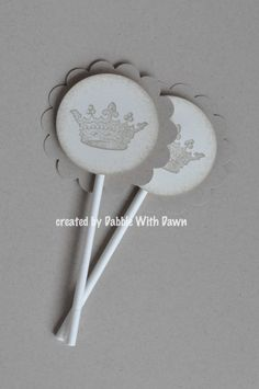 French Vintage Shabby Chic Crown Cupcake Toppers - set of 24 - Baby Shower, Wedding, Bridal Shower, Birthday, Anniversary. $12.25, via Etsy.