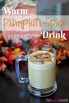 Warm Pumpkin Spice Drink ~ tastes like pumpkin pie in a mug! It's caffeine-free, though it can be mixed with coffee to make a copycat Starbucks Pumpkin Spice Latte. It can also be made dairy-free! | {Five Heart Home}