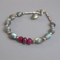 djs Sundance Sol Labradorite Ruby Gemstone Sterling Silver Bead Bracelet Boho #DJStrang #ArtisanBeadedGemstoneBracelet