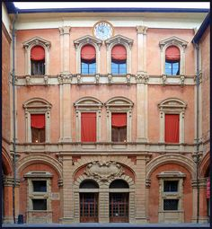 The courtyard of the Palazzo Comunale in Bologna, Italy