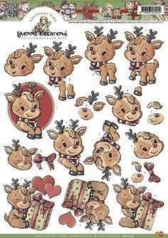 Knutselkraam.nl   3D A4 Knipvel Yvonne Creations - Kerst Rudolf CD10209