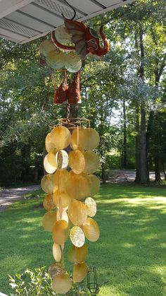 Windchime beautiful golden Capez shells and elephant