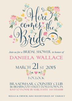 Printable Bridal Shower Invitation Vintage Floral by EniPixels