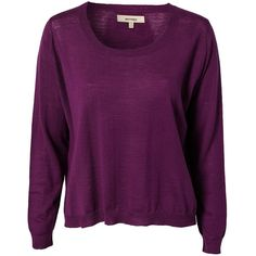 Whyred Flora Sweater (€140) ❤ liked on Polyvore featuring tops, sweaters, jumpers & cardigans, plum, womens-fashion, purple jumper, purple sweater, purple top, plum top and merino sweater