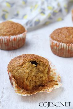 Carrot Muffins Healthy recipes by Paulina Styś - Fit Healthy Carrot Muffins, Carrots, Food And Drink, Healthy Recipes, Breakfast, Cupcakes, Recipes, Health Recipes, Carrot