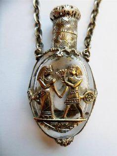 Stylish Art Deco Egyptian Revival Chatelaine Perfume Scent Bottle & Stopper