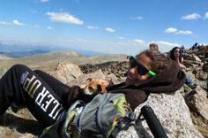 """Resting at the top of my first 14er (14,000 ft summit) Mt. Bierdstat in CO, with my chihuahua who hiked the whole thing herself!"" #PersonalSummits @Marmot #Colorado #14er"
