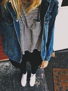 black jeans + stripe tee + denim jacket + converse