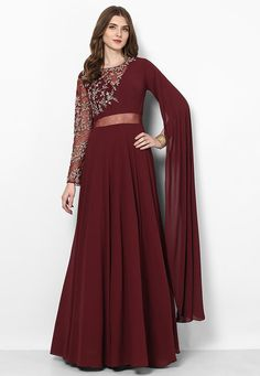 Hand Embroidered Georgette Flared Gown in Maroon Indian Fashion Dresses, Indian Bridal Outfits, Indian Gowns Dresses, Dress Indian Style, Indian Designer Outfits, Designer Party Wear Dresses, Kurti Designs Party Wear, Lehenga Designs, Sleeves Designs For Dresses