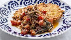 Glamping it up: Potato hash browns with sardine salad.