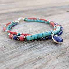 Blue Lapis Lazuli Multistrand Beaded Bracelet, Red Coral Bracelet, Green Turquoisee Gemstone Layer Bracelet, Sterling Silver Charm Bracelet
