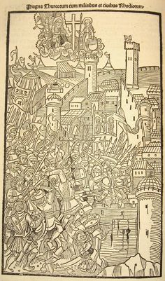 Folio Combat of turks with soldiers and citizens of Rhodes. illustrated in France, 1496 Medieval Castle, Medieval Art, Antique Illustration, Illustration Art, Book Illustrations, Medieval Drawings, Rainy City, Horror Comics, City Maps