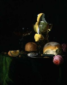 Still Life with a Peeled Lemon in a Roemer By Simon Luttichuys