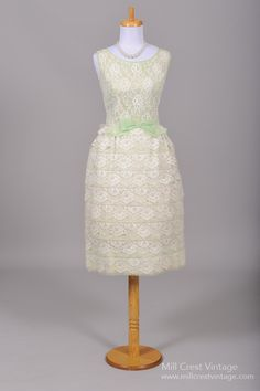 1960 Mint Green Tiered Wedding Dress from Mill Crest Vintage