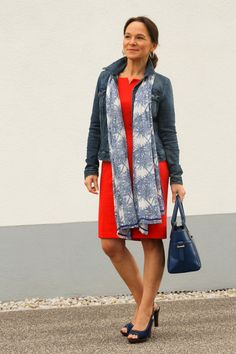 Little red dress casual style with a denim jacket - jeans - style over 50