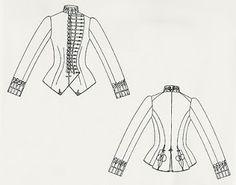Ridjacka 1885-86  Ett annan alternativ för att få en manlig ton i kläderdräkten var att ha militära detaljer som förstäkte intrycket. En ståkrage som satt åt mot halsen och ärmavslut som betonades genom olika påsydda band och snoddar påminde om den dräkt som militärbefäl bar.